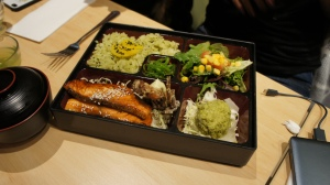 Teriyaki salmon Bento with matcha rice